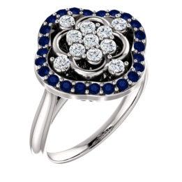 Ladies 14k White Gold Sapphire and Diamonds Ring